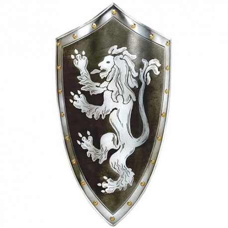 Rampant White Lion Shield