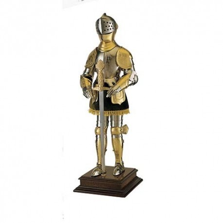 Miniature 16th Century Spanish Suit of Armor with Sword (Gold)