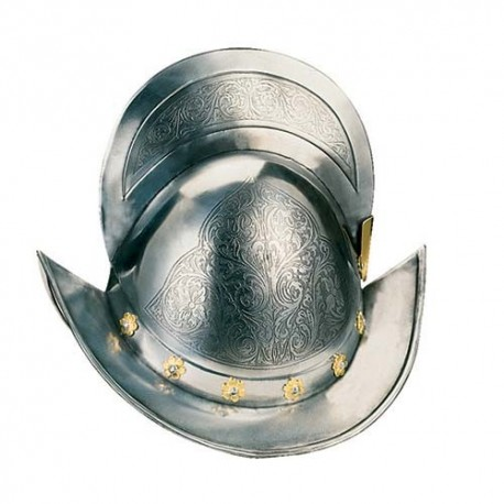 Engraved Spanish Round Morion Helmet (Gold inlaids)