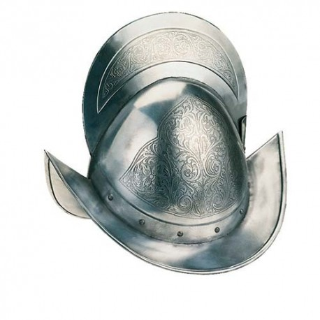 Engraved Spanish Round Morion Helmet
