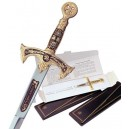 Miniature Damascene Templar Knight Sword Letter Opener