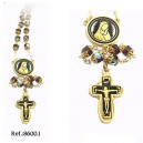 Virgin Mary Damascene Rosary Gold