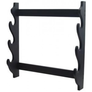 Wood Three Sword Wall Display Rack