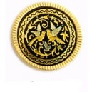 Damascene Lovebirds Tryst Brooch Gold