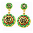 Green Celestial Damascene Earrings Gold