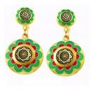 Green Celestial Damascene Earrings Gold