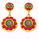 Red Celestial North Star Damascene Earrings Gold