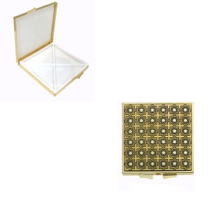 Brilliant Square Damascene Pill Box Gold