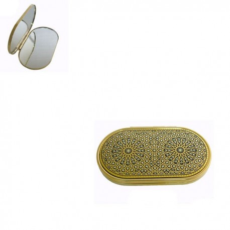 Detailed Damascene Compact Mirror Gold