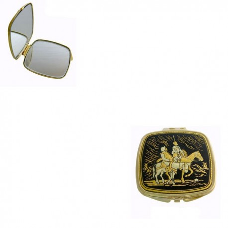 Don Quixote Damascene Compact Mirror Gold