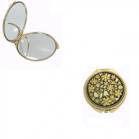 Wildflowers Round Damascene Compact Mirror Gold