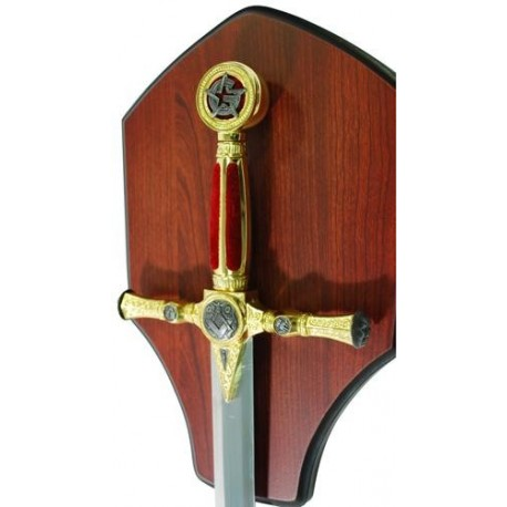 Small Masonic Sword with Plaque-Red-Star