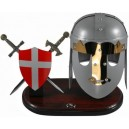 Miniature Templar Crusader Helmet, Swords and Shield