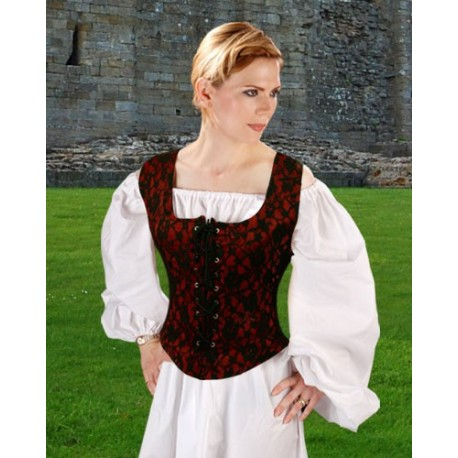 Medieval Goth Bodice Red-Medieval clothing