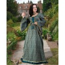Courtly Green Brocade Dress-Medieval dresses