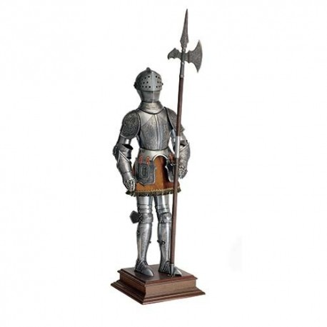 Miniature 16th Century Spanish Suit of Armor with Halberd