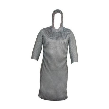 Heavy Chainmail Shirt and Chain mail Hood Full Size