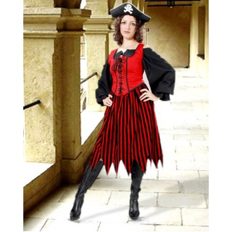 Alvilda Striped Pirate Skirt-Red black