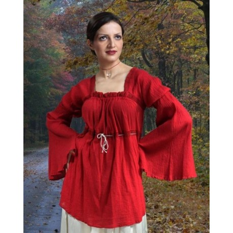 Cherry Crepe Pirate Blouse