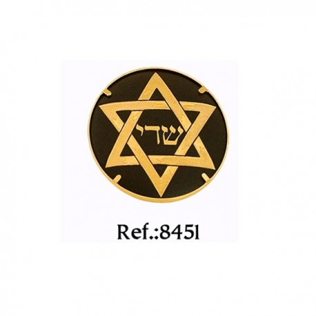 Damascene Star of David Brooch Gold