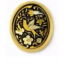 Damascene Swallow Brooch Gold