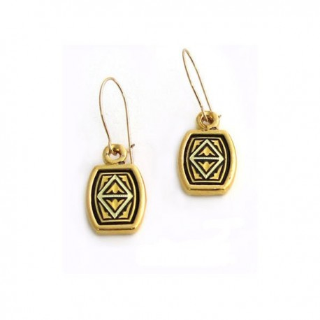 Triangle Damascene Earrings Gold