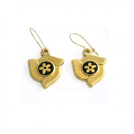 Damascene Maiden Flower Earrings Gold