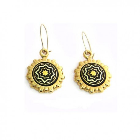 Damascene Summer Solstice Earrings Gold