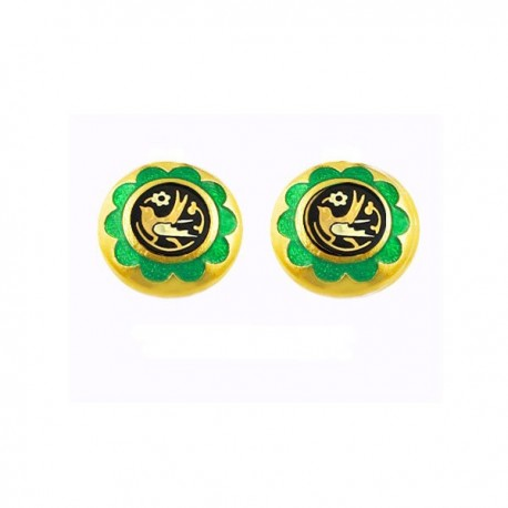 Olive Branch Green Stud Damascene Earrings