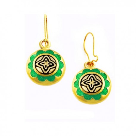 Green North Star Damascene Earrings Gold