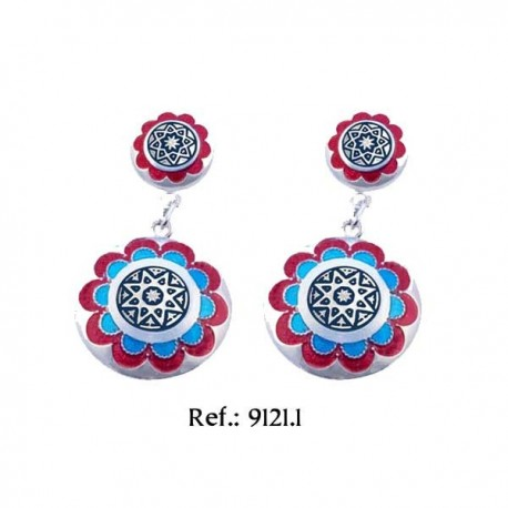 Red and Blue Silver Damascene Earrings