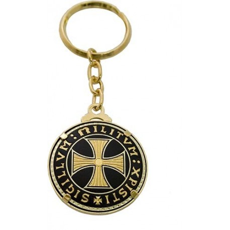 Damascene Templar Cross Keychain Gold