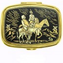 Don Quixote Damascene Pill Box Gold