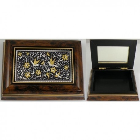 Damascene Gold and Silver Wooden Jewelry Box