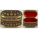 Damascene Gold Jewelry Box Oval