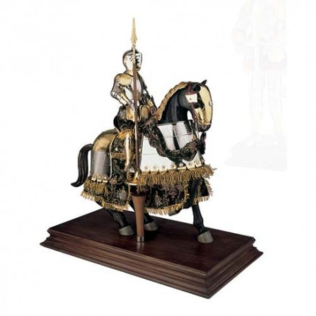Mounted Spanish Knight of the 16th Century in Suit of Armor Gold