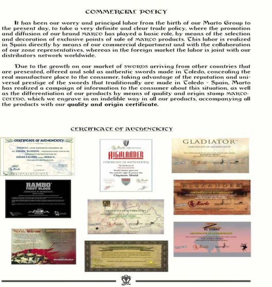 Toledo Swords-Marto - Certificates
